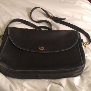 Vintage Coach black briefcase. Authentic leather